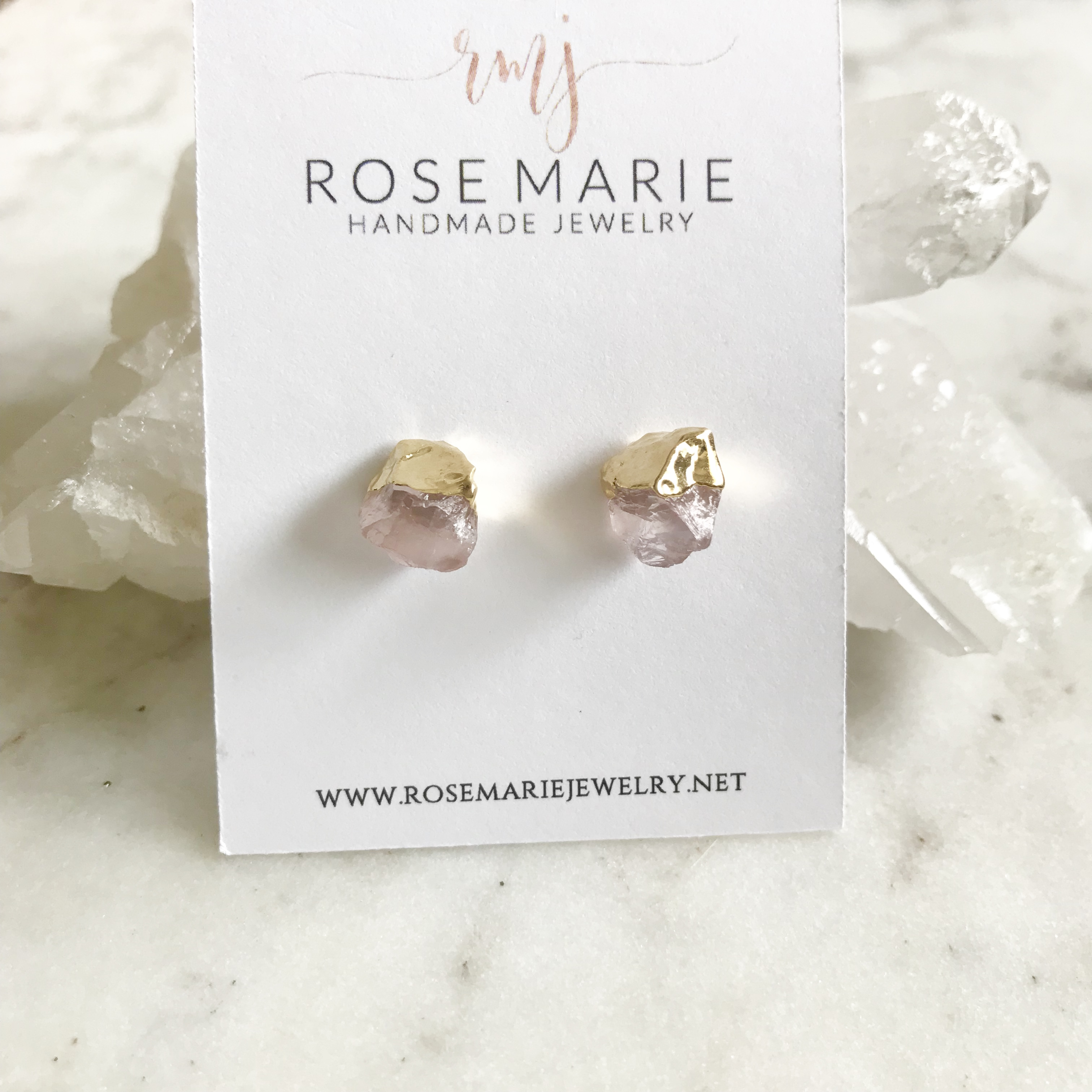 Rose Quartz Gold Dipped Earring