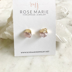 Rose Quartz Gold Dipped Earring