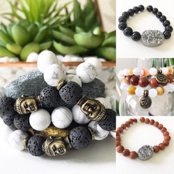 An abundance of healing stone stretch bracelets.