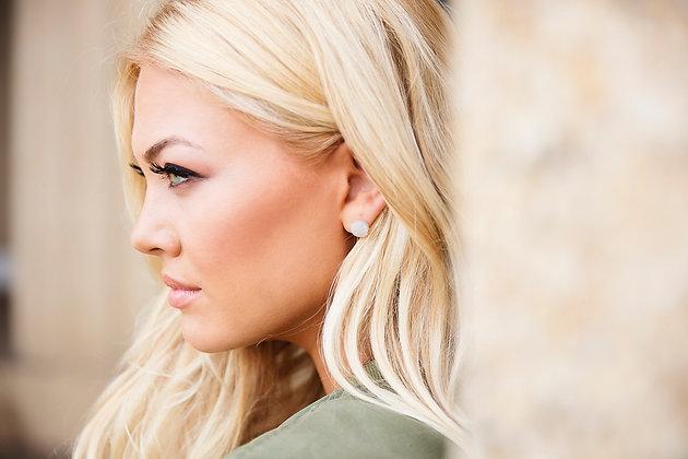 White Druzy Stud Earring