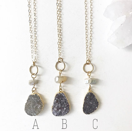 Druzy x AB Dolomite Necklace
