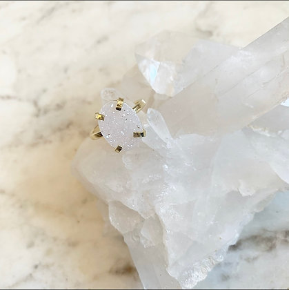 White Druzy Ring - One of a Kind