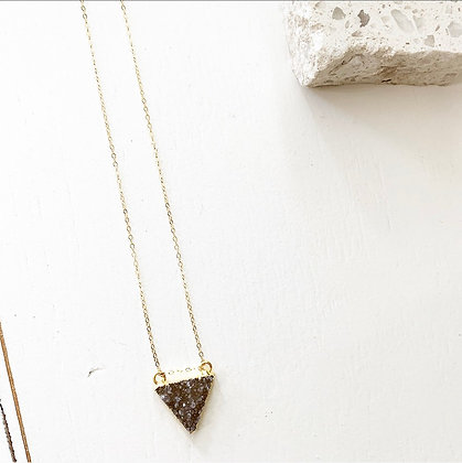 Dark Druzy Triangle Necklace
