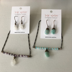 Gemstone Bar Necklace, with matching earrings of your choice!