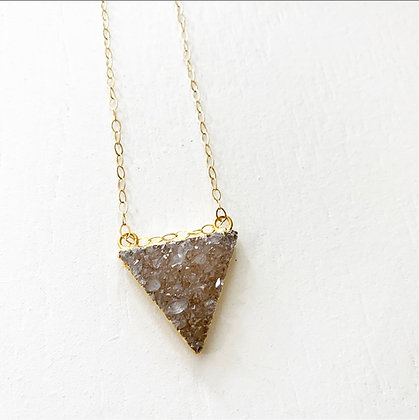 Dainty Druzy Triangle Necklace