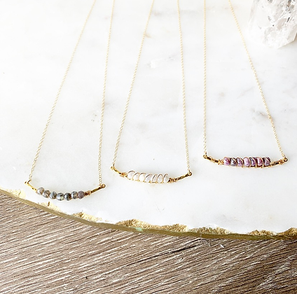 Dainty Crystal Bar Necklace