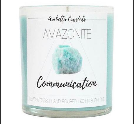 Large Amazonite Hidden Gem Candle
