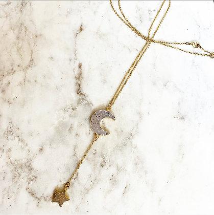 Druzy Star + Moon Necklace
