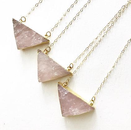 Raw Rose Quartz Triangle Necklace