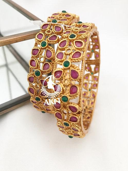 Multi matte gold polish lock bangles pair