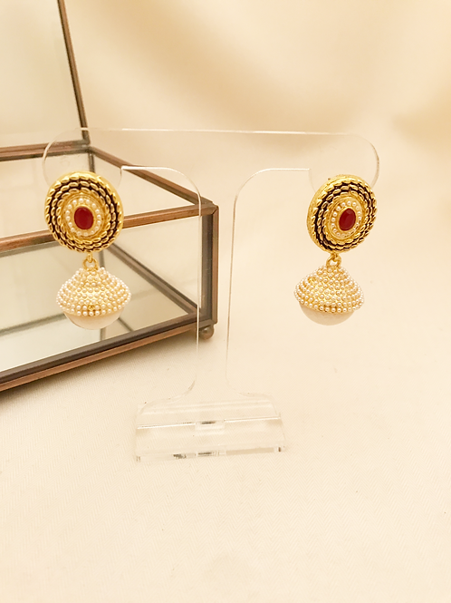 Small Red Peal Jhumka
