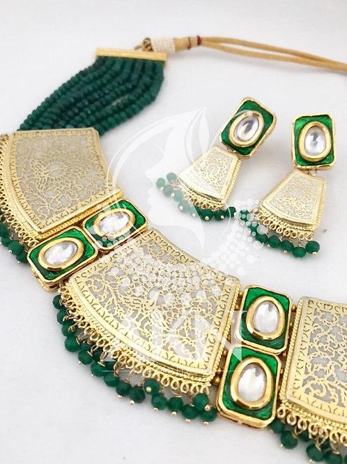 Semi precious beaded Kudan necklace