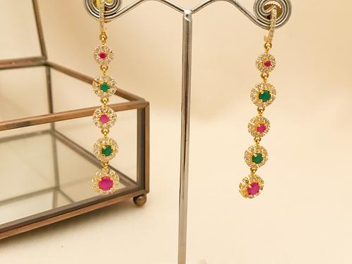 Ruby & Emerald Drop Small Earrings