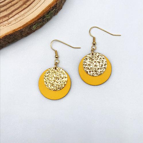 Boucles d'oreilles - Circle jaune