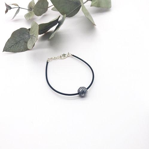 Bracelet en caoutchouc - Perle rayée