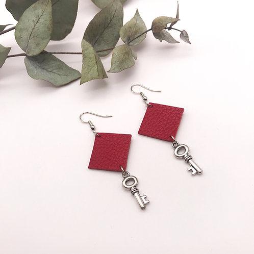 Boucles d'oreilles Keys Rouges