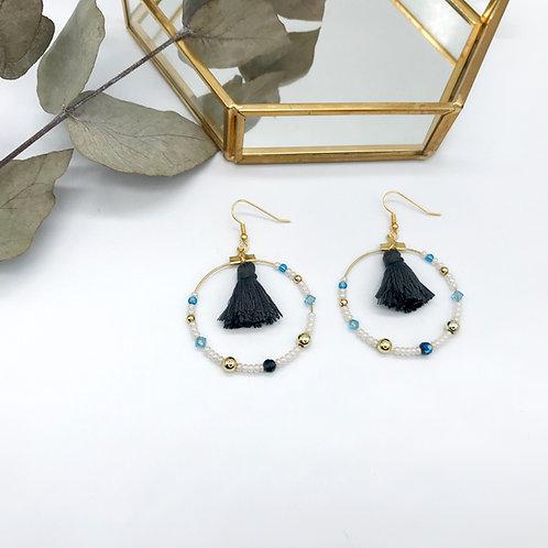 Boucles d'oreilles Jeanne - Pompon Gris