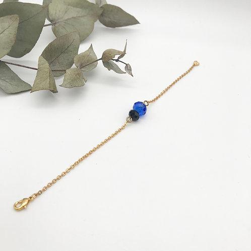 Bracelet doré à l'or fin 24K Noir et Bleu