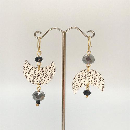Boucles d'oreilles Luna - Noir et blanc - Perles
