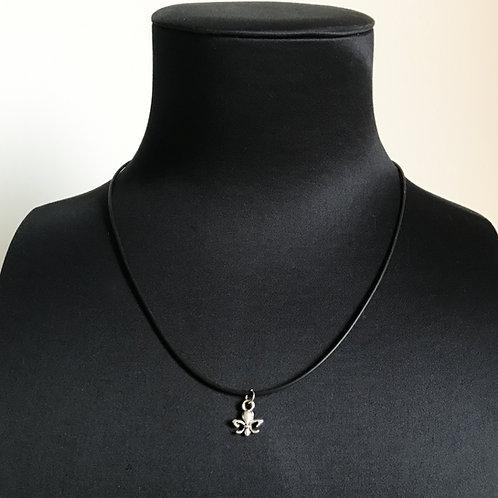 Collier Noir - Fleur de lys