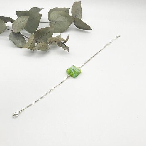 Bracelet argenté - Perle en verre - Vert