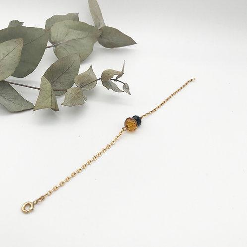 Bracelet doré à l'or fin 24K Jaune et Noir
