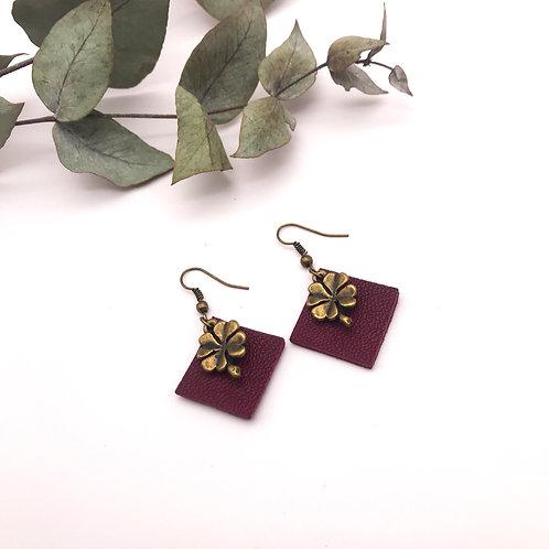 Boucles d'oreilles Quadra violettes - Trèfle