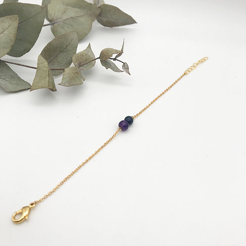 Bracelet doré à l'or fin 24K - Violet et Noir