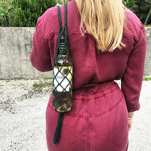 Porte bouteille en macramé - Vert