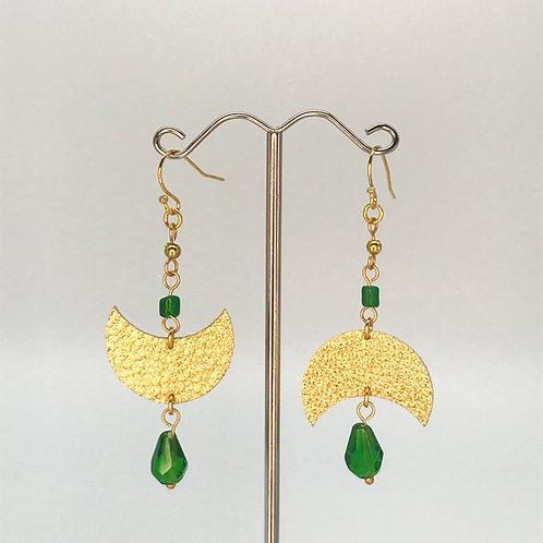 Boucles d'oreilles Luna - Doré et Vert - Perles