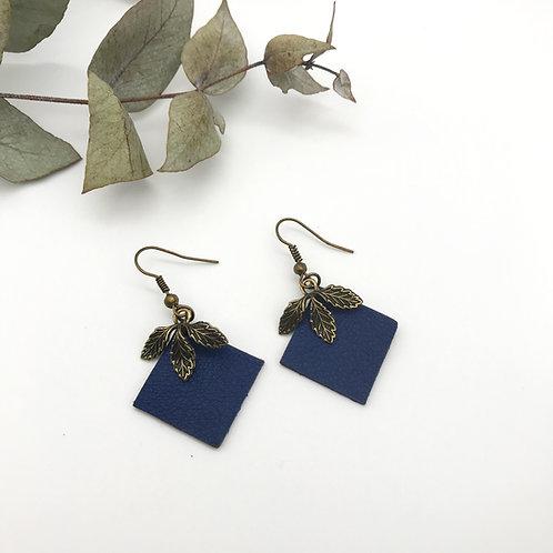 Boucles d'oreilles Quadra Bleu - Feuilles