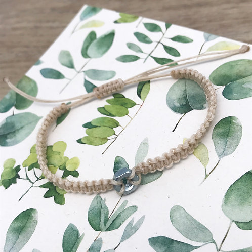Bracelet macramé noeud plat - Petit écrou