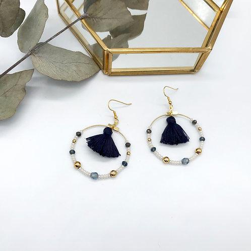 Boucles d'oreilles Jeanne - Pompon Bleu