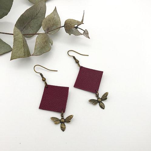 Boucles d'oreilles Quadra - Abeille - Violet