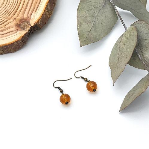 Boucles d'oreilles pendantes Jaune  - Bronze