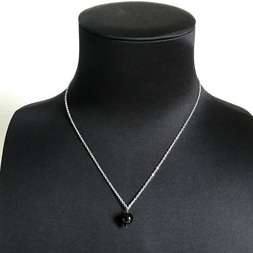 Collier argenté 2 perles - Grenat et rocaille