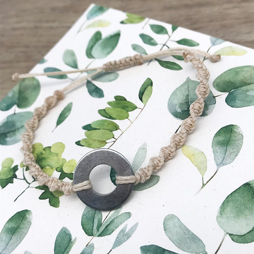 Bracelet macramé torsadé - Rondelle étroite