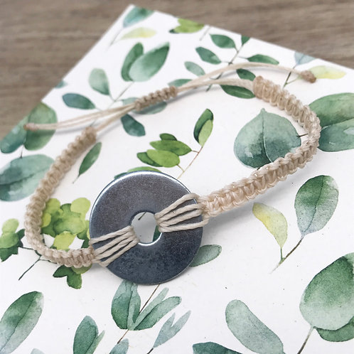 Bracelet macramé plat double - Rondelle large