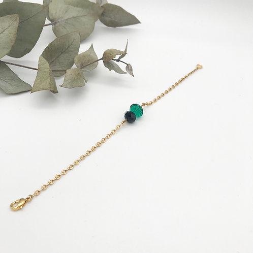 Bracelet doré à l'or fin 24K - Vert et Noir