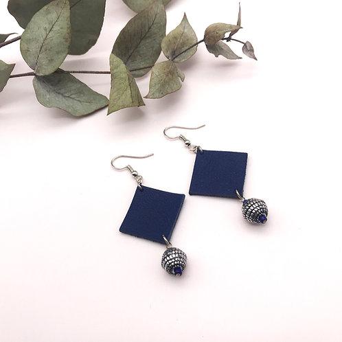 Boucles d'oreilles - Quadra - Bleu, perle rayée