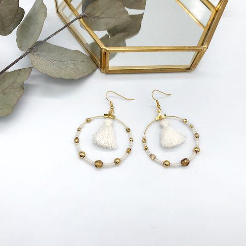 Boucles d'oreilles Jeanne - Pompon Blanc