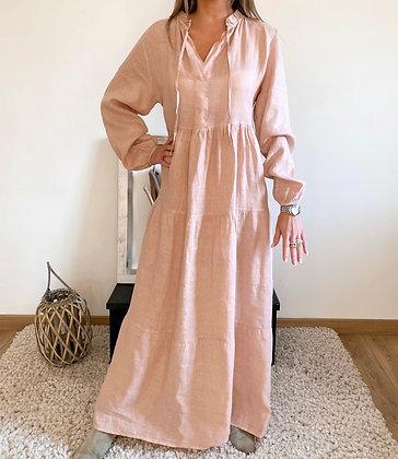 Robe lin rose pâle ROMA