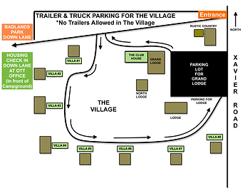 Map of houses and villas located in The Village at Off The Trail Vacation Rentals and Campgroun