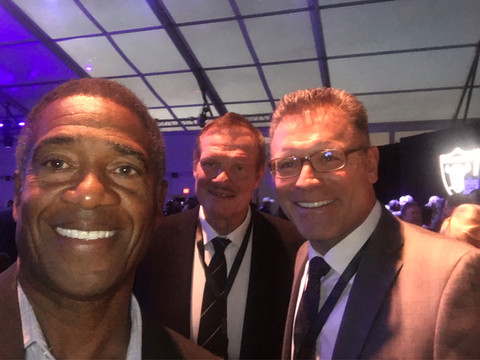 The Great Pro Football Hall of Famers Raiders Selfie - Mike Haynes, Ted Hendrix and Howie Long