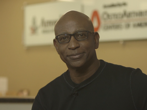 Eric Dickerson, Pro Football Hall of Famer, at photo shoot and commercial filming.