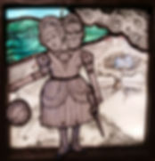 Two Headed Stained Glass Sisters with sword and clock, a light box