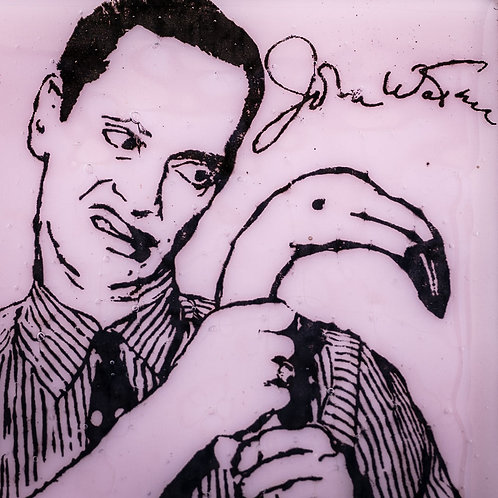 JOHN WATERS WITH FLAMINGO GLASS COASTER