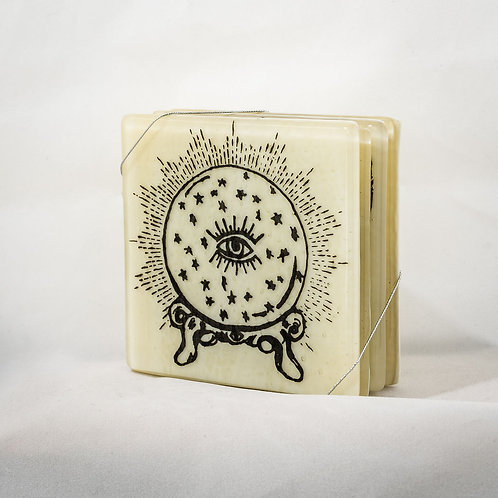 SET OF OCCULT GLASS COASTERs