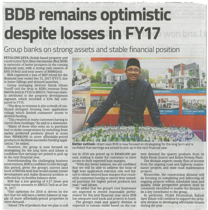 BDB remains optimistic despite losses in FY17 - The Star (21/2/2018)