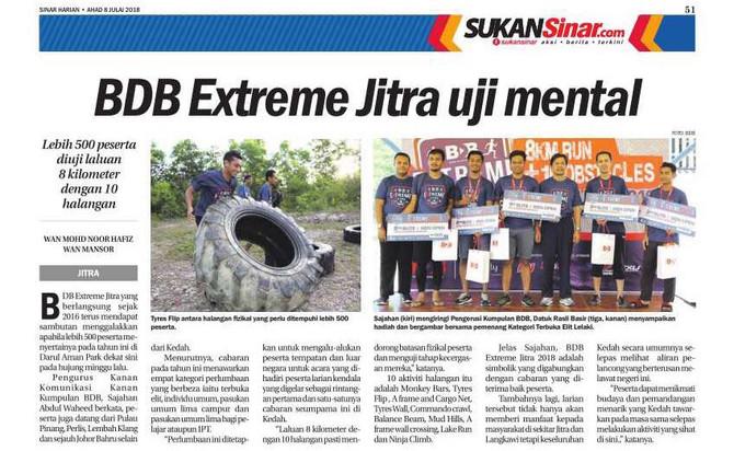 BDB Extreme Jitra uji mental - 8 Julai 2018 (Sinar Harian)